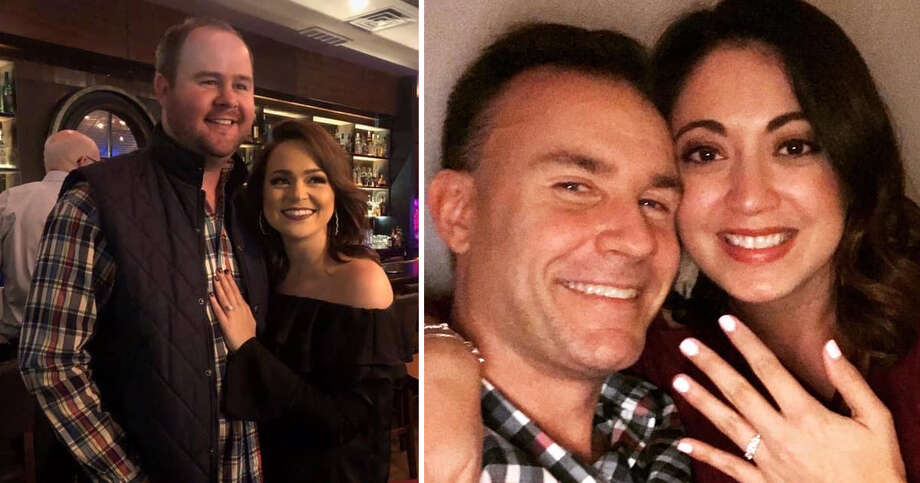 San Antonio TV personalities Kaiti Blake (left) Alex Stockwell (far right) and Travis Receck got engaged over the weekend . Photo: Kaiti Blake, Alex Stockwell