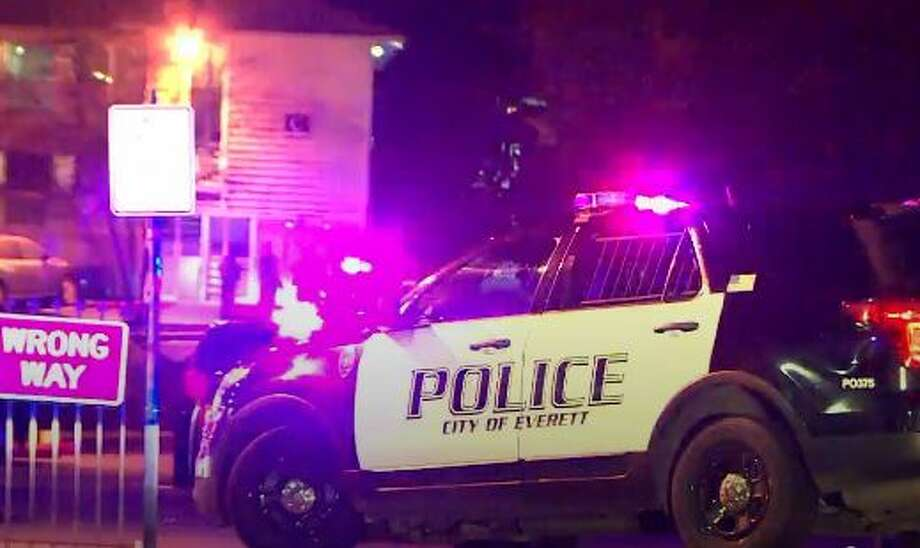 Everett police respond to the scene. Photo: Courtesy KOMO