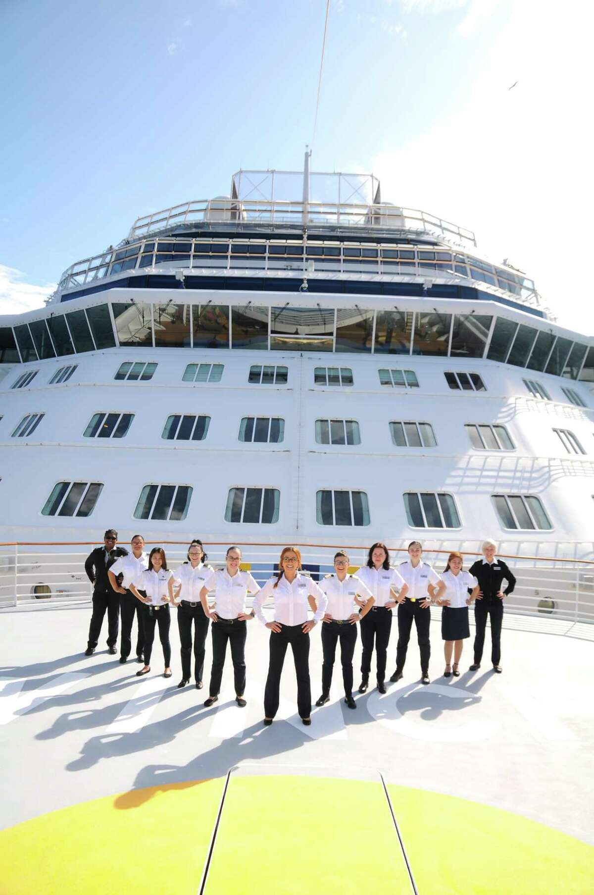 The all-female bridge and officer team that will head the Celebrity Edge.
