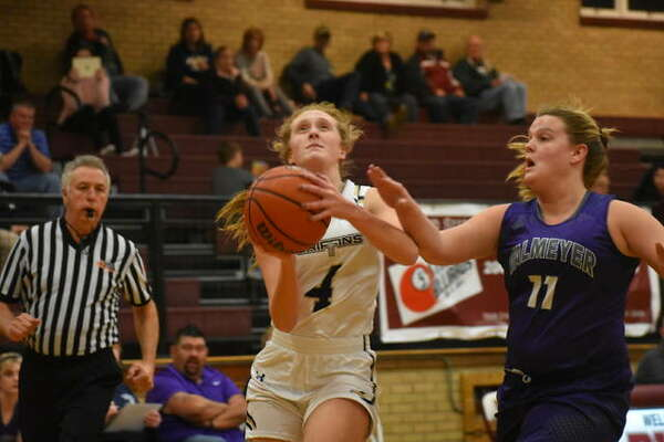 FMCHS junior guard Anna McKee, pictured in action against Valmeyer, scored a team-high 15 points against Marissa on Wednesday.