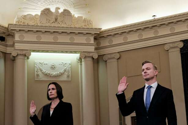 Fiona Hill and David Holmes are sworn in before testifying before the House Intelligence Committee on Nov. November 21, 2019.