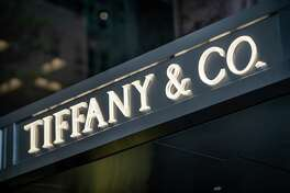 The Tiffany & Co. sign on the Fifth Avenue store in New York on Oct. 28, 2019.