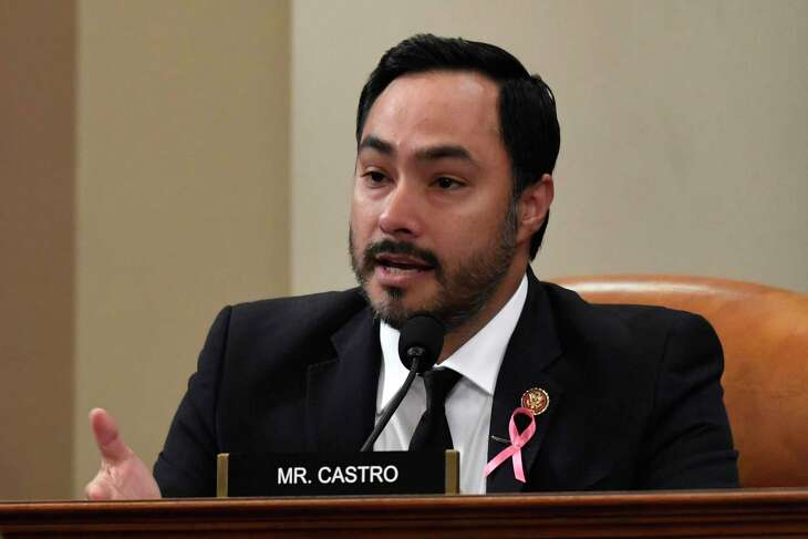 Rep. Joaquin Castro, D-Texas, questions Deputy Assistant Secretary of Defense Laura Cooper, and State Department official David Hale, as they testify before the House Intelligence Committee on Capitol Hill in Washington, Wednesday, Nov. 20, 2019, during a public impeachment hearing of President Donald Trump's efforts to tie U.S. aid for Ukraine to investigations of his political opponents. (AP Photo/Susan Walsh)