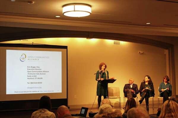 Erin Boggs, executive director of Open Communities Alliance, spoke during Wednesday's program.
