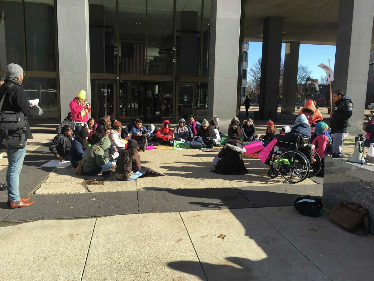 New Haven students went to Boston Thursday morning in support of Mario Aguilar, a classmate seeking asylum after being detained by ICE officials.