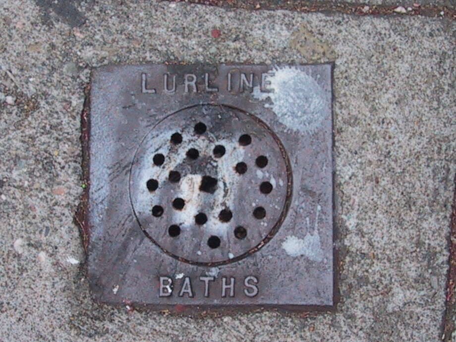 "A now-removed ""Lurline Baths"" San Francisco street vent over the salt water main that ran under Geary Street in the Richmond. Photo: John Freeman"