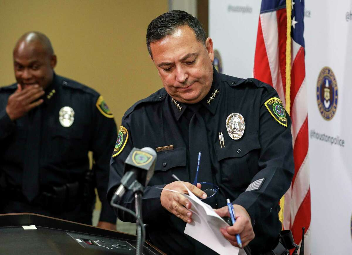 Houston Police Chief Art Acevedo prepares for a press conference at HPD headquarters on Wednesday, Nov. 20, 2019, in Houston. Former HPD officers Gerald Goines and Steven Bryant, along with Patricia Garcia, a neighbor of Dennis Tuttle and Rhogena Nicholas, were taken into custody and charged with a variety of federal crimes.