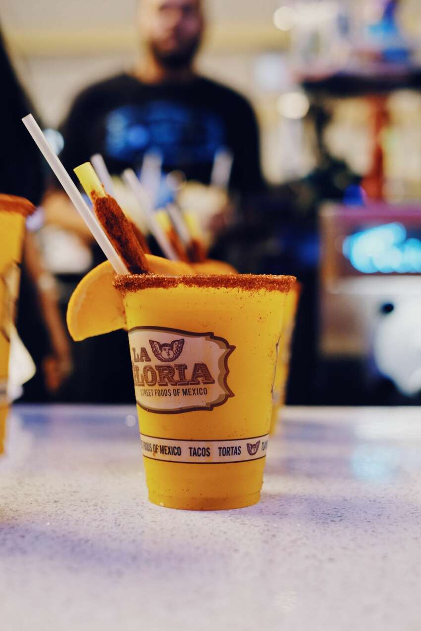 Boozy mangonada Where to find it: La Gloria in section 201 $11.50 (12-ounce) or $12. 50 (18-ounce) Also available here: Elote for $6