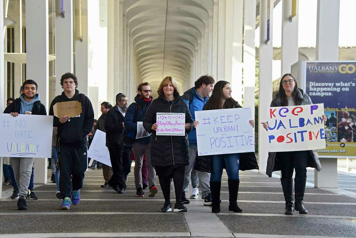 Members of University at Albany Hillel and students march around the podium area at UAlbany in protest to hate speech happening on this campus and others across the country on Thursday, Nov. 21, 2019 in Albany N.Y. (Lori Van Buren/Times Union)