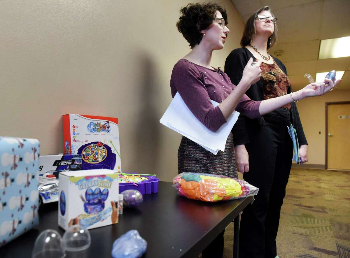 Liz Moran, environmental policy director for the New York Public Interest Research Group (NYPIRG), speaks during a press conference to warn consumers against purchasing potentially dangerous toys on Thursday, Nov. 21, 2019, in Albany, N.Y. (Will Waldron/Times Union)