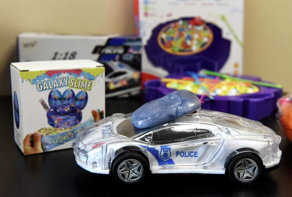 Toys, deemed unsafe for children by consumer and public health advocates, are displayed during a press conference on dangerous toys held by the New York Public Interest Research Group (NYPIRG) on Thursday, Nov. 21, 2019, in Albany, N.Y. (Will Waldron/Times Union)