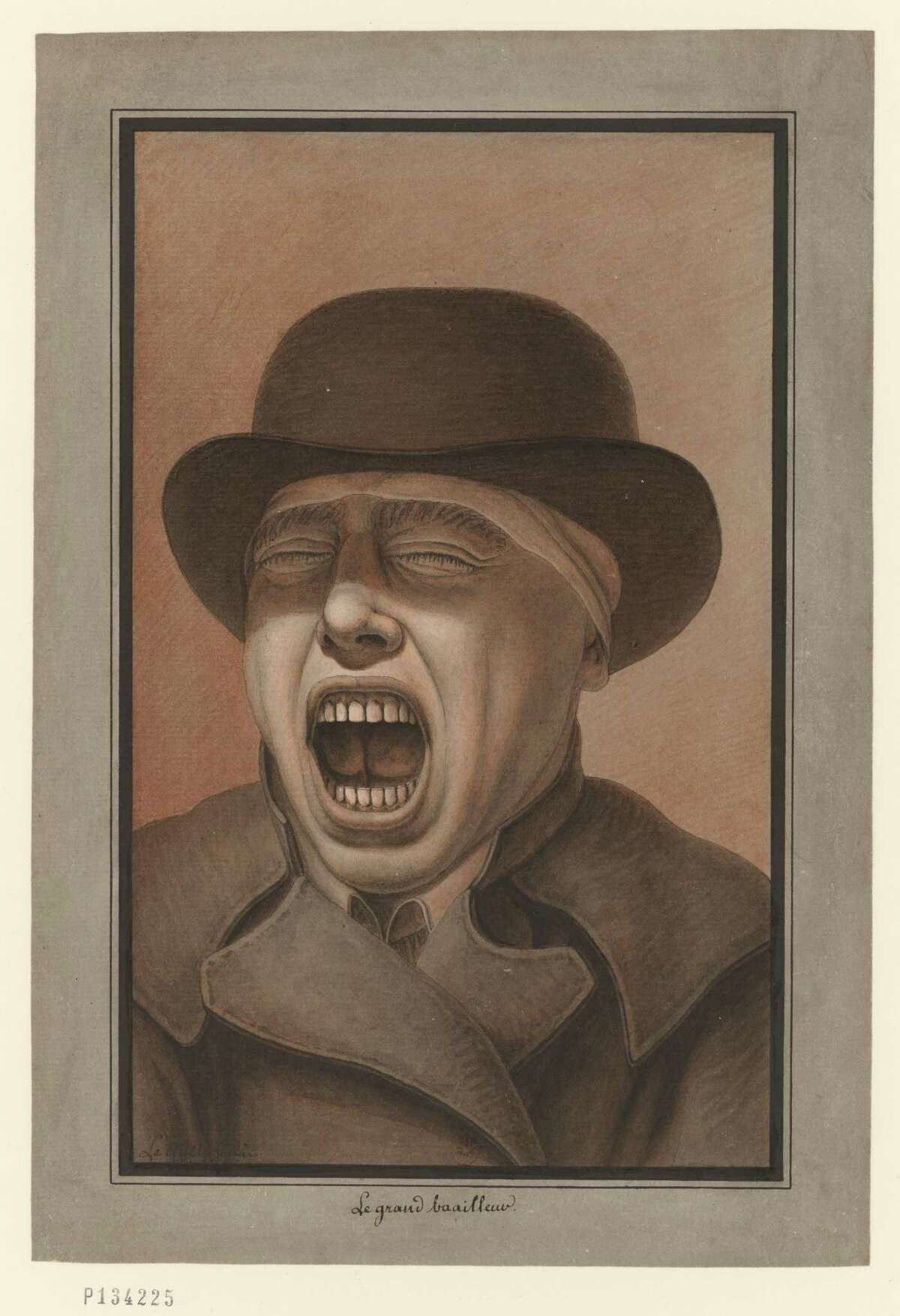 """Jean-Jacques Lequeu's """"Yawning Man (Le grand baailleur),"""" late 18th century."""