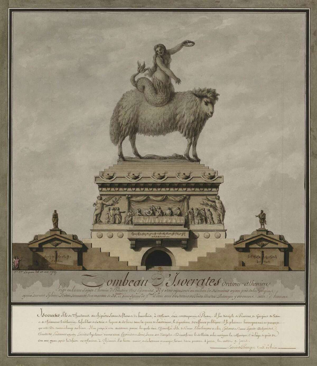 """""""The Tomb of Isocrates, Athenian Orator (Tombeau d'Isocrate, orateur athénien),"""" from 1789,, is among works on view Oct. 4-Jan. 5 at the Menil Drawing Institute in the show """"Jean-Jacques Lequeu: Visionary Architect, Drawings from theBibliothèque nationale de France."""""""
