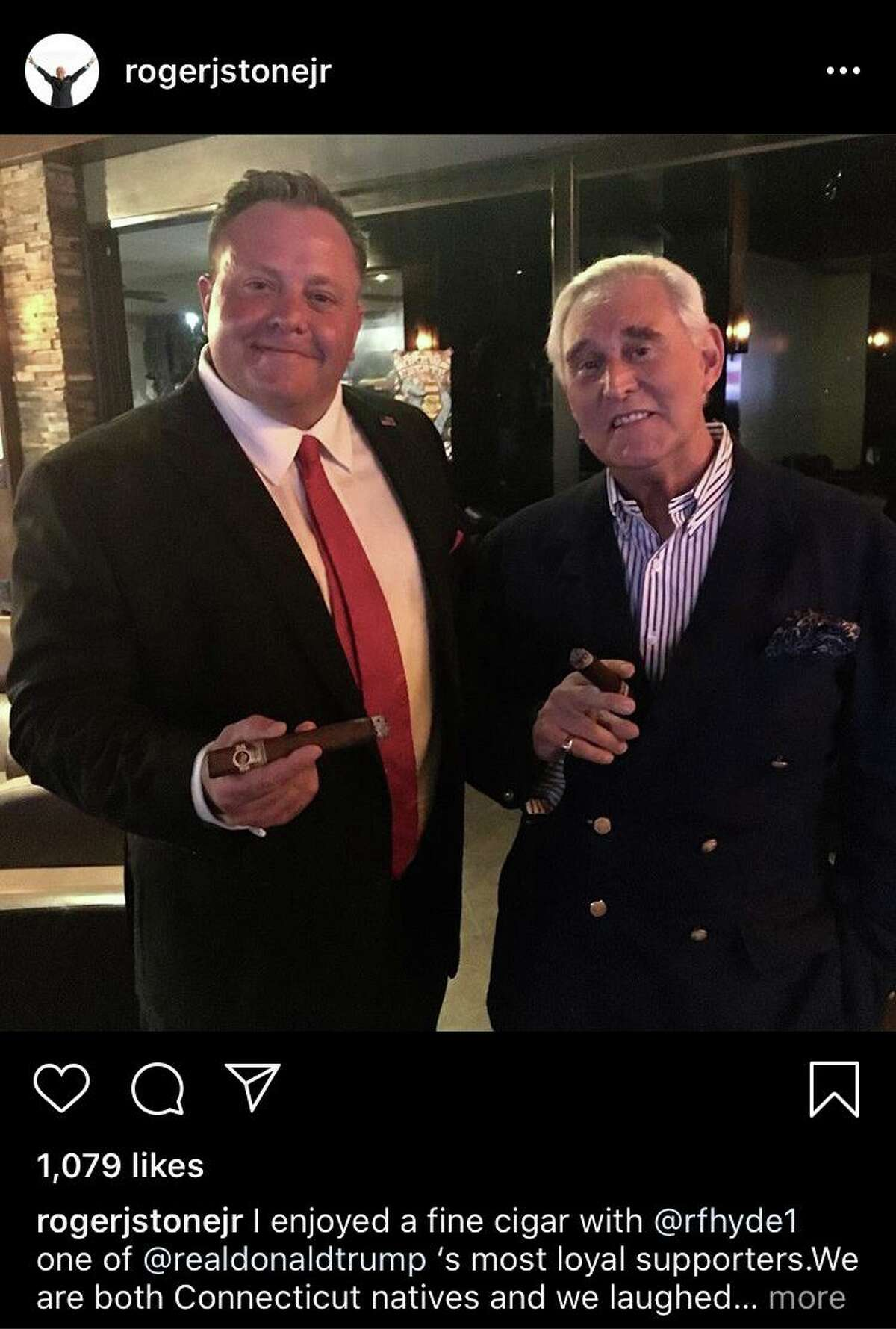 Roger Stone (right), a Trump ally convicted of lying to Congress, posted this photo on Instagram with Robert Hyde (left), a Republican running for Congress in Connecticut's 5th District, in May 2019. Stone was born in Norwalk, Conn.