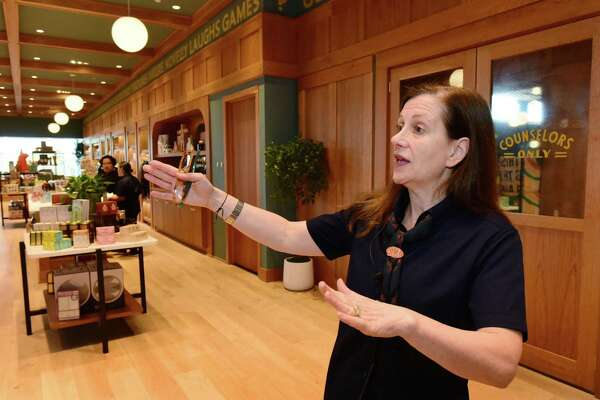 Camp General Manager Shelley Steinberg leads a tour as the toy store during their opening day Thursday, November 21, 2019, at The SoNo Collection mall in Norwalk, Conn. One of the Connecticut newcomers to the mall with the NYC entity offering experiential learning activities and related products for families. Located Level 3 of the mall at the northwest corner.