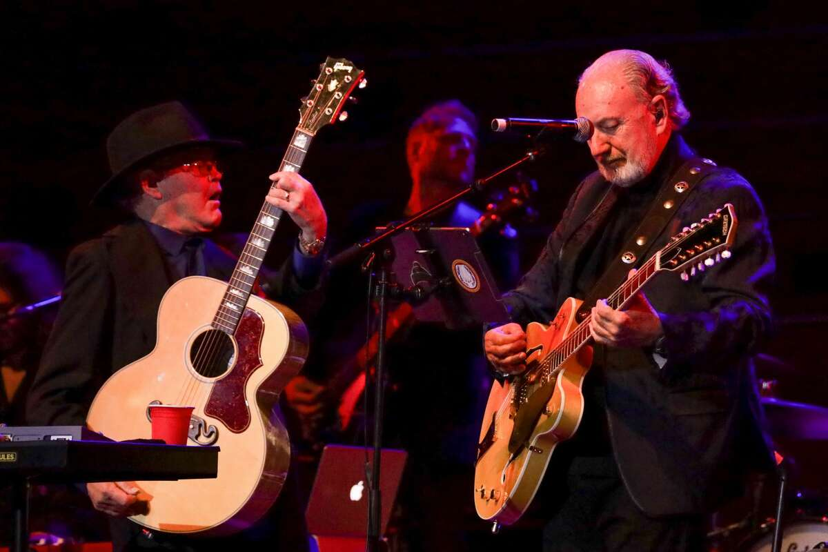 Micky Dolenz and Michael Nesmith perform on stage as part of their The Monkees Present: the Mike and Micky Show on June 09, 2019 in Auckland, New Zealand. Dolenz and Nesmith will be honored during Sketchfest in January.