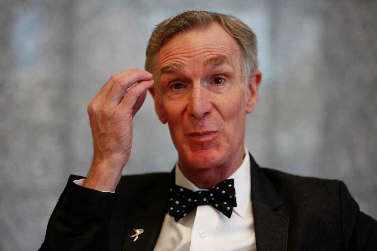 Bill Nye talks before his keynote presentation at SpaceCom Thursday, Nov. 21, 2019, in Houston.