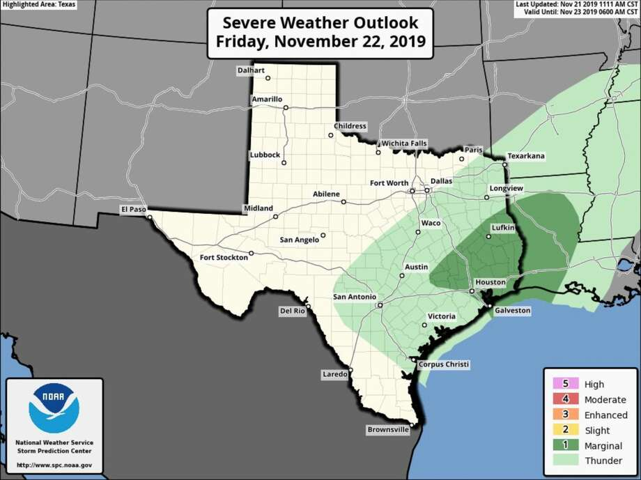 Much of Houston and the surrounding area is under a marginal risk of severe weather Friday, Nov. 22, 2019. Photo: National Weather Service