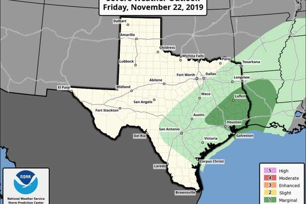Much of Houston and the surrounding area is under a marginal risk of severe weather Friday, Nov. 22, 2019.
