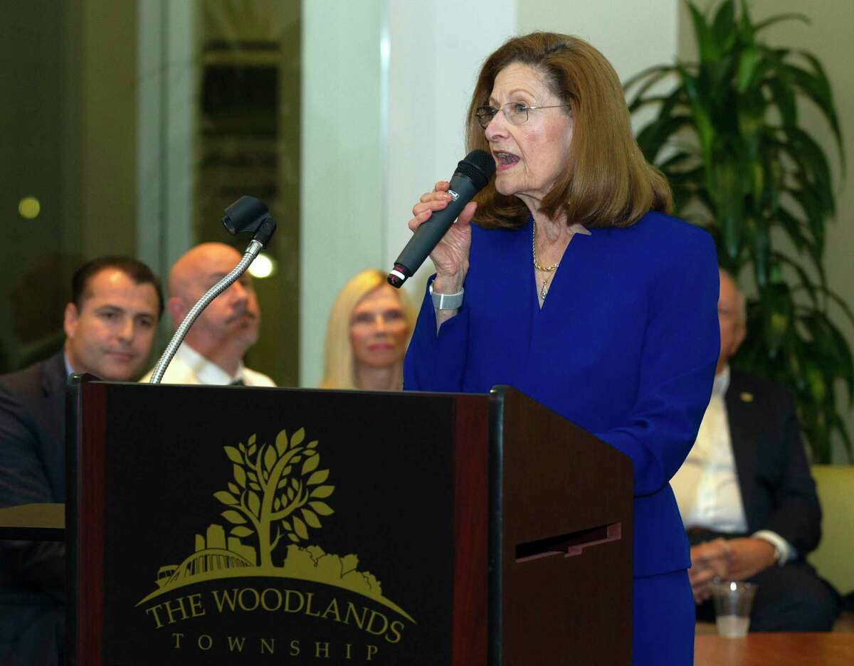 The Woodlands Township board member Carol Stromatt speaks before his final meeting of The Woodlands Township, Wednesday, Nov. 20, 2019, in The Woodlands.