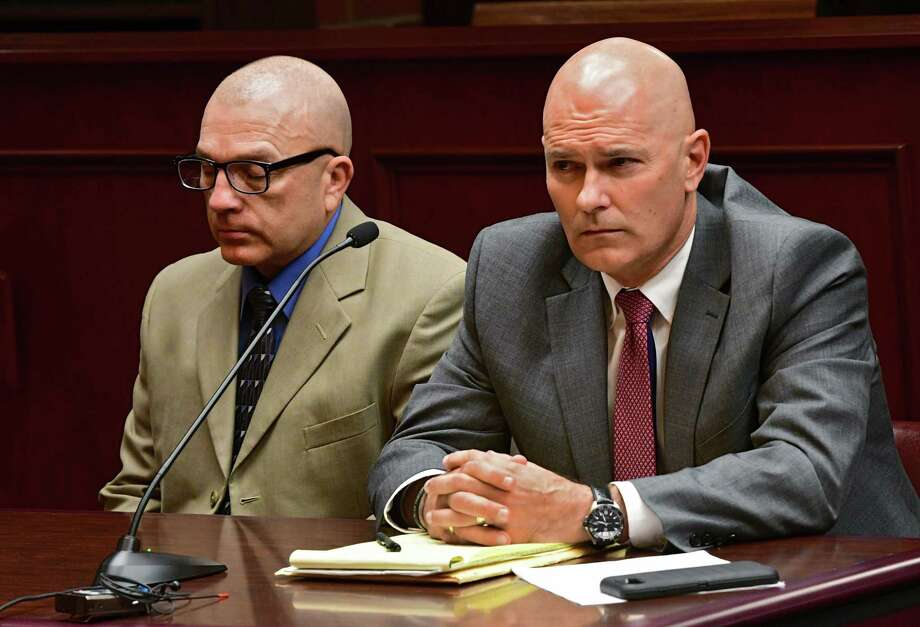 Dickie Winn, left, sits with his attorney Jeffrey Lapham during his sentencing in the death of two people who were on their way to a wedding at Saratoga County Court on Thursday, Nov. 21, 2019 in Ballston Spa, N.Y. (Lori Van Buren/Times Union) Photo: Lori Van Buren, Albany Times Union / 40048307A