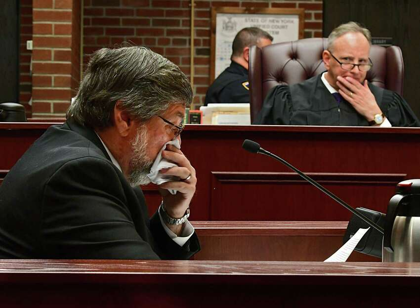 Donald Holtzman, father of Caitlyn Holtzman, speaks of his late daughter during the sentencing of Dickie Winn, the man who was found guilty of killing Caitlyn and John Heneghan in a drunk driving accident at Saratoga County Court on Thursday, Nov. 21, 2019 in Ballston Spa, N.Y. Judge James A. Murphy lll listens attentively at right. (Lori Van Buren/Times Union)