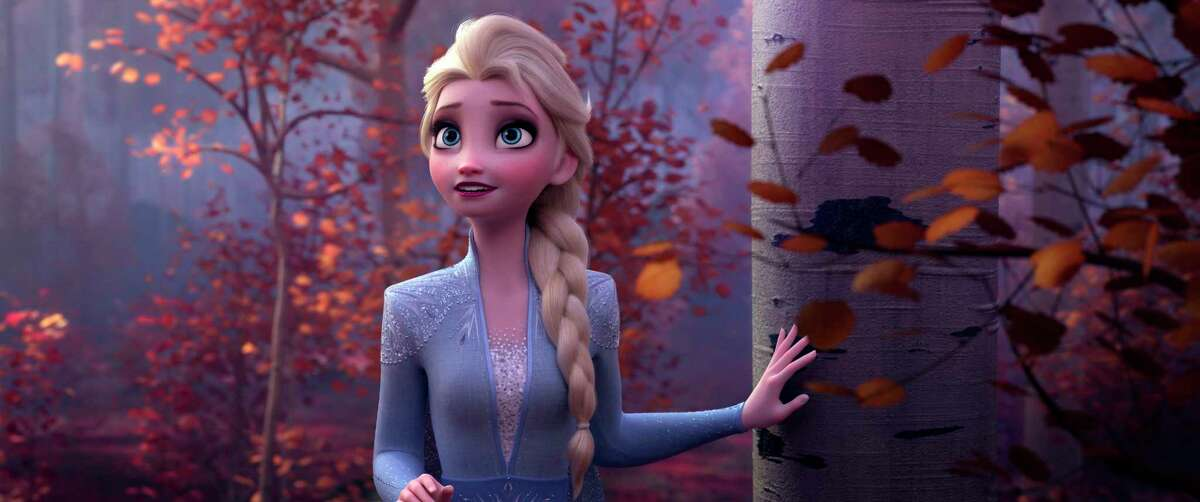 This image released by Disney shows Elsa, voiced by Idina Menzel, in a scene from