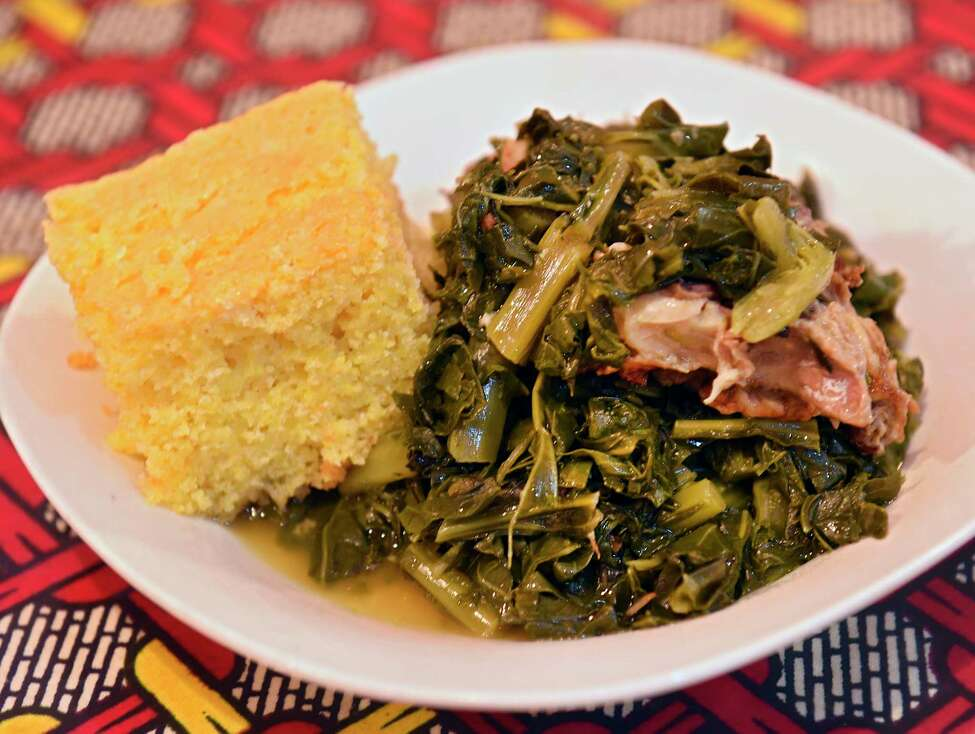 Cornbread and collard greens at Allie B's Cozy Kitchen on Clinton Ave. on Wednesday, Nov. 13, 2019 in Albany, N.Y. (Lori Van Buren/Times Union)