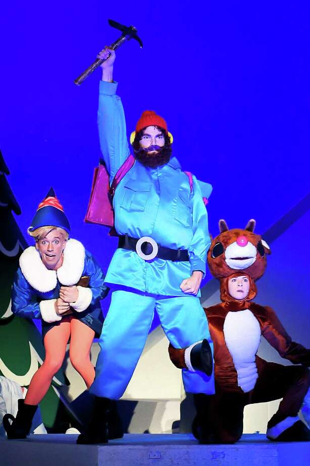 Yukon Cornelius is flanked by Hermey and Rudolph in the stage musical coming to the Shubert Theatre. Photo: Shubert Theatre / Contributed Photo