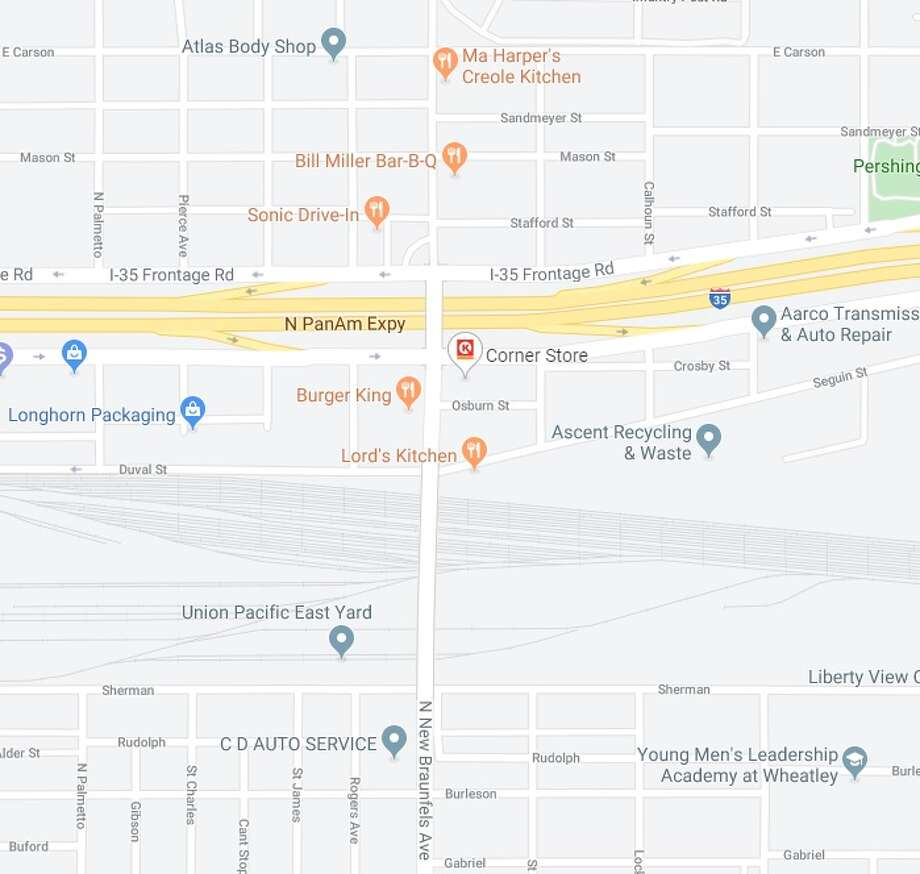 Mainlanes on Interstate 35 near North New Braunfels Avenue will be closed from 9 p.m. Thursday until 5 a.m. Friday, according to the Texas Department of Transportation. This is the area where the closure will take place. Photo: Google Maps