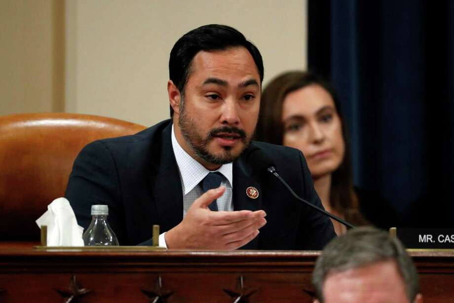 WASHINGTON, DC - NOVEMBER 19:  U.S. Rep. Joaquin Castro (D-TX) questions Ambassador Kurt Volker, former special envoy to Ukraine, and Tim Morrison, a former official at the National Security Council, as they testify before the House Intelligence Committee on Capitol Hill November 19, 2019 in Washington, DC. The committee heard testimony during the third day of open hearings in the impeachment inquiry against U.S. President Donald Trump, whom House Democrats say held back U.S. military aid for Ukraine while demanding it investigate his political rivals.  (Photo by Jacquelyn Martin - Pool/Getty Images) Photo: Pool, Pool / Getty Images / 2019 Getty Images