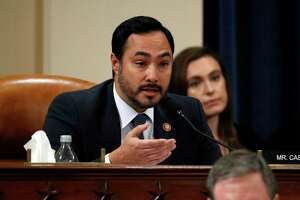 WASHINGTON, DC - NOVEMBER 19:  U.S. Rep. Joaquin Castro (D-TX) questions Ambassador Kurt Volker, former special envoy to Ukraine, and Tim Morrison, a former official at the National Security Council, as they testify before the House Intelligence Committee on Capitol Hill November 19, 2019 in Washington, DC. The committee heard testimony during the third day of open hearings in the impeachment inquiry against U.S. President Donald Trump, whom House Democrats say held back U.S. military aid for Ukraine while demanding it investigate his political rivals.  (Photo by Jacquelyn Martin - Pool/Getty Images)