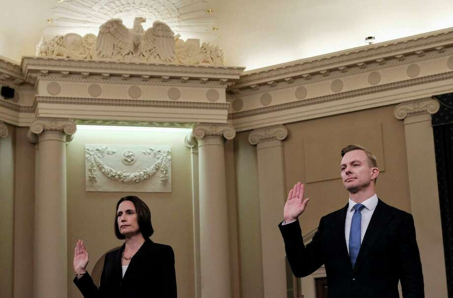 Fiona Hill and David Holmes are sworn in before testifying before the House Intelligence Committee on Nov. November 21, 2019. Photo: Washington Post Photo By Bonnie Jo Mount / The Washington Post
