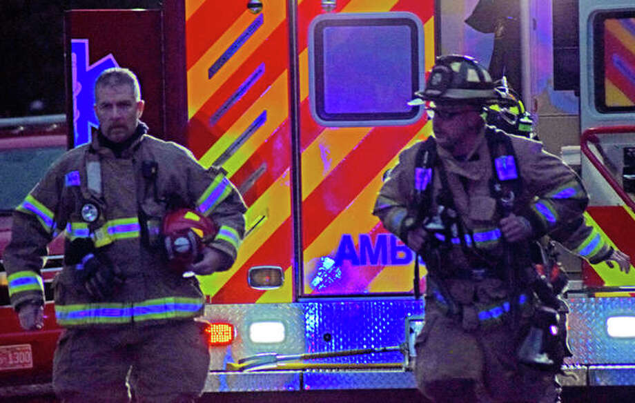 Emergency personnel arriving on scene. Photo: Tyler Pletsch | The Intelligencer