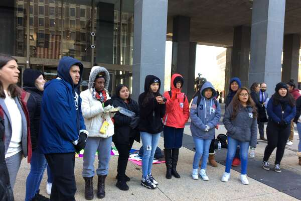 Wilbur Cross students and others rally for Mario Aguilar Castanon, who is being detained by ICE