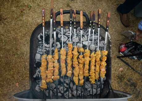 Marinated kebabs on a grill will score at any backyard or tailgate party. If you are tailgating, remember to ensure that stadium parking allows charcoal grills.