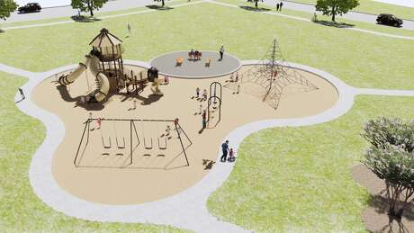 A playground is among the amenities in the Ashbel Cove neighborhoods in the Baytown Crossings community.
