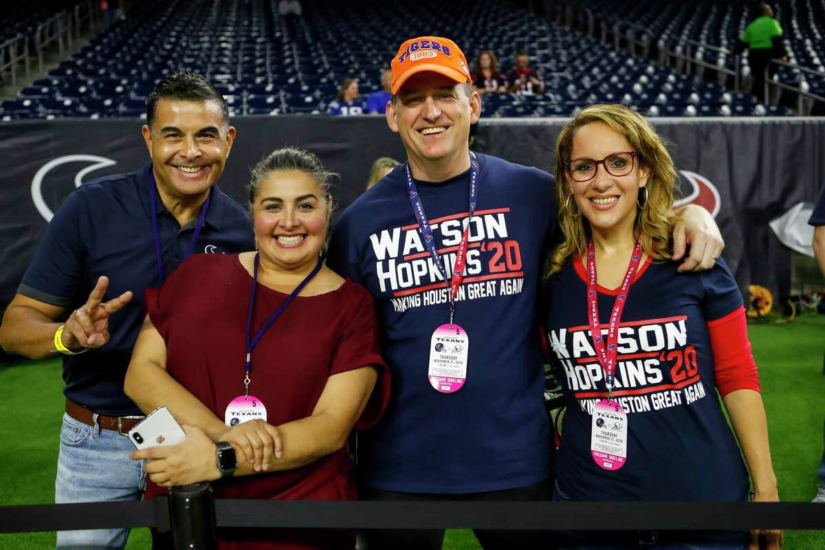 Fans prepare for the start of the Houston Texans game against the Indianapolis Colts at NRG Stadium on Thursday, monthnameap} 21, 2019, in Houston.