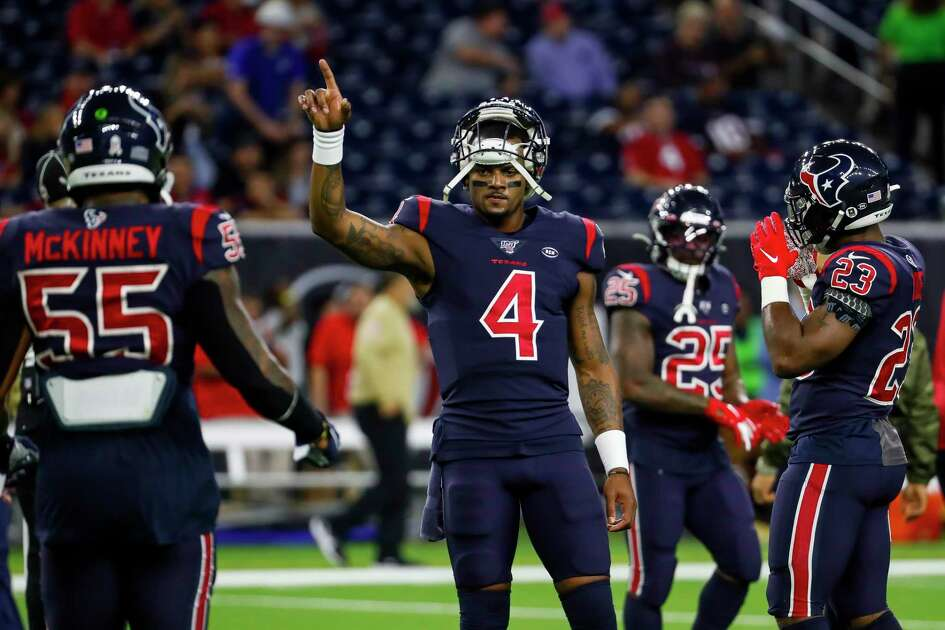 Houston Texans quarterback Deshaun Watson (4) warms up before an NFL football game at NRG Stadium on Thursday, Nov. 21, 2019, in Houston.