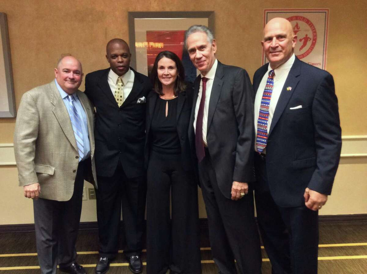 From left to right, Rob Spaeth, Kenny Bell, Kim O'Gorman Menges, Art Shamsky and Dom Passerelle were honored by the Greenwich Old Timers Athletic Association on Thursday, November 21, 2019, at the Hyatt Regency Greenwich in Old Greenwich.