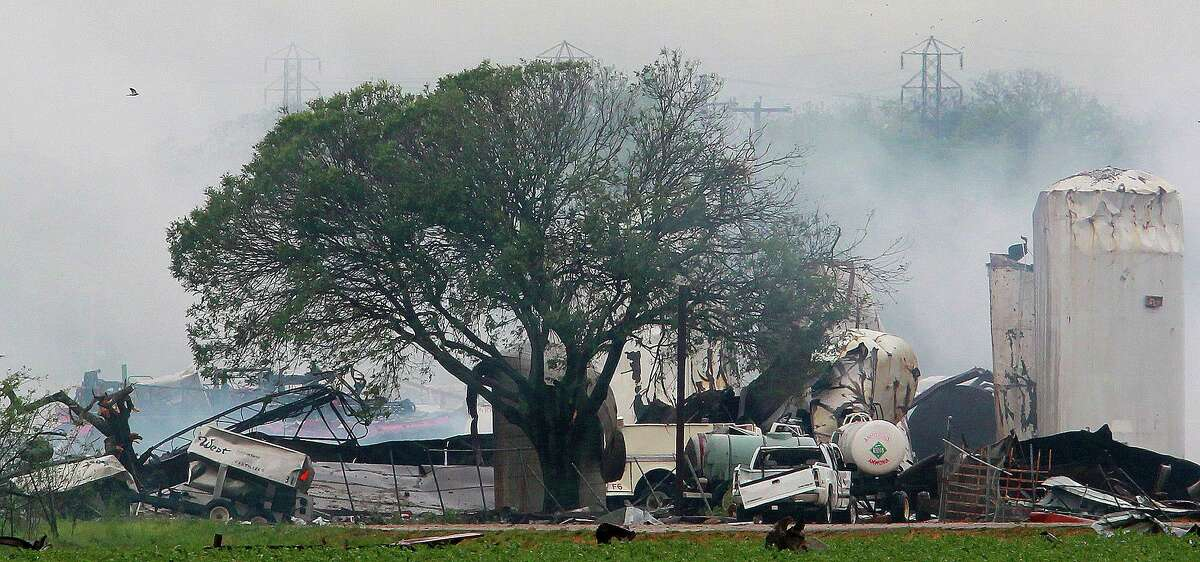 This is the scene Thursday April 18, 2012 of the fertilizer plant explosion in the town of West, Texas. West is about 20 miles north of Waco.