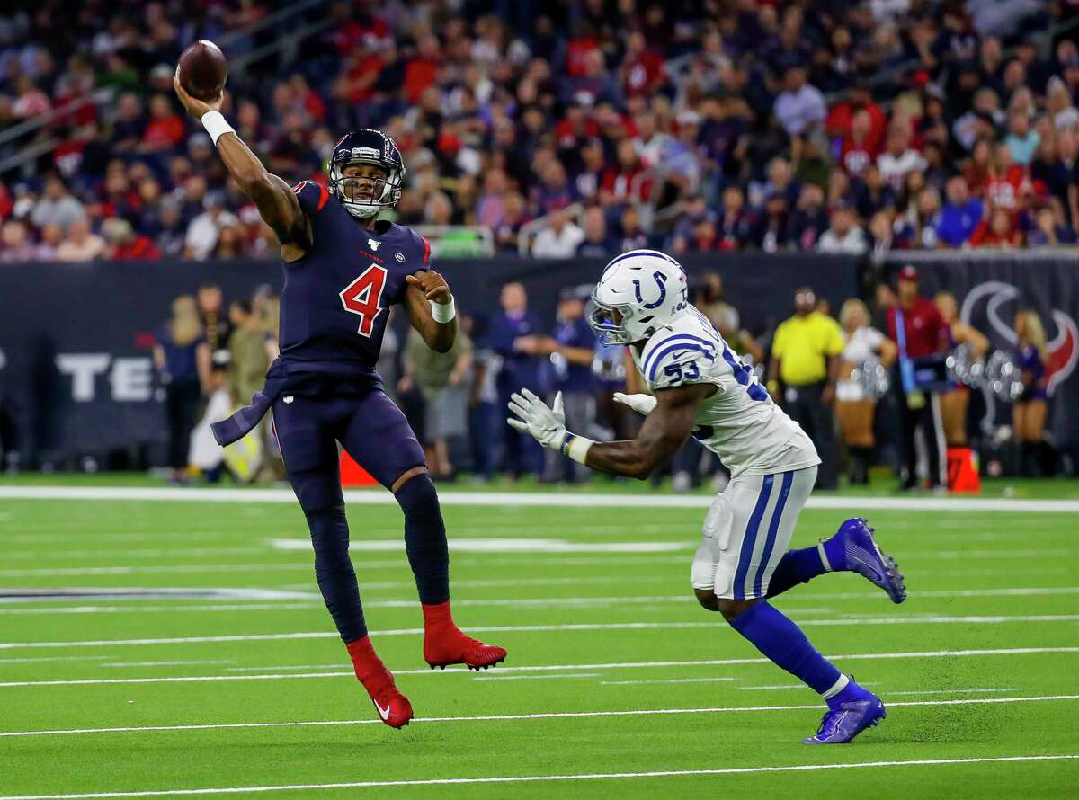 Houston Texans quarterback Deshaun Watson (4) throws over Indianapolis Colts outside linebacker Darius Leonard (53) during the second quarter of an NFL football game at NRG Stadium on Thursday, Nov. 21, 2019, in Houston.