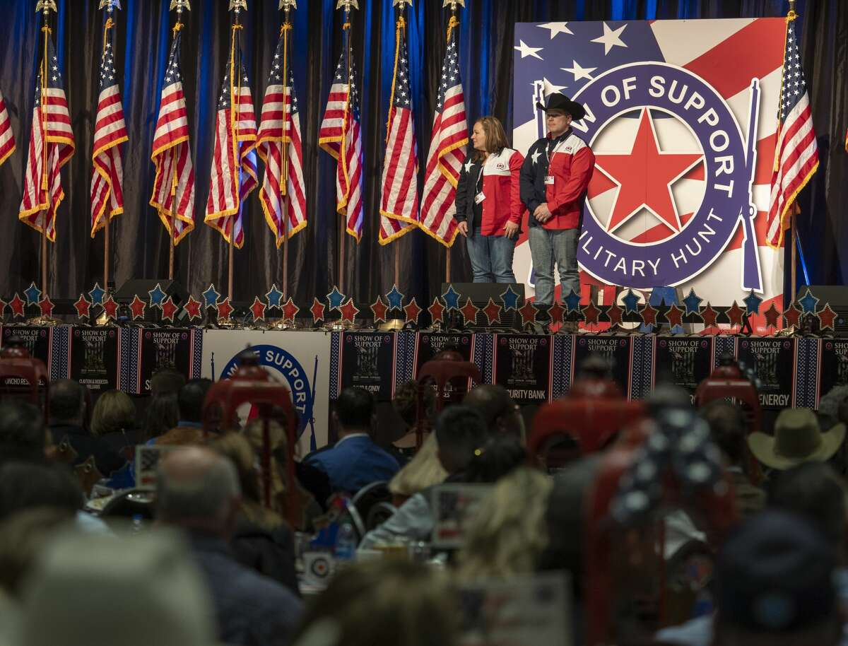 US Army SSG Derek Can Buren and his wife Katie are honored 11/21/19 evening at the 16th annual Show of Support Hunt for Heroes banquet. Tim Fischer/Reporter-Telegram
