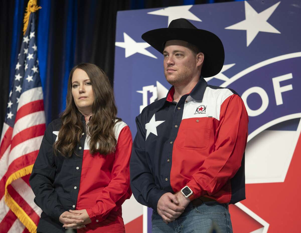 SSG Geoffrey Waterman and his wife Shawna, both from Midland, TX are honored 11/21/19 evening at the 16th annual Show of Support Hunt for Heroes banquet. Tim Fischer/Reporter-Telegram