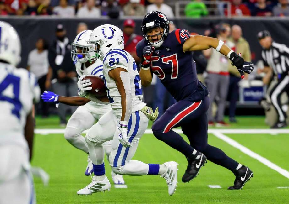 Houston Texans outside linebacker Brennan Scarlett (57) chases Indianapolis Colts running back Nyheim Hines (21) during the second quarter of an NFL football game at NRG Stadium on Thursday, Nov. 21, 2019, in Houston. Photo: Brett Coomer, Staff Photographer / © 2019 Houston Chronicle