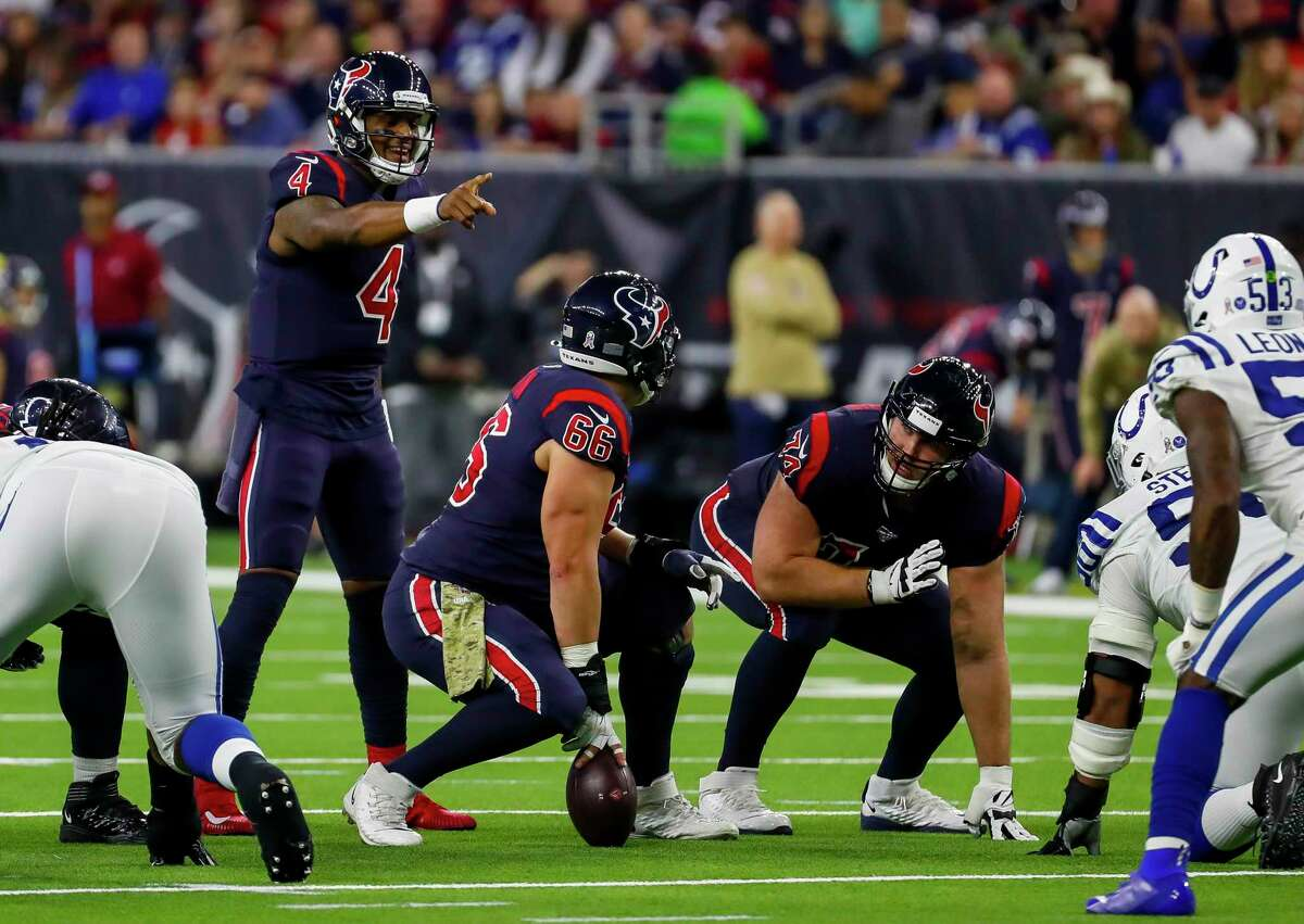 PHOTOS: Texans vs. Colts Houston Texans quarterback Deshaun Watson (4) communicates with Houston Texans center Nick Martin (66) during the second quarter of an NFL football game at NRG Stadium on Thursday, Nov. 21, 2019, in Houston. >>>See more photos from the Texans' win last Thursday ...