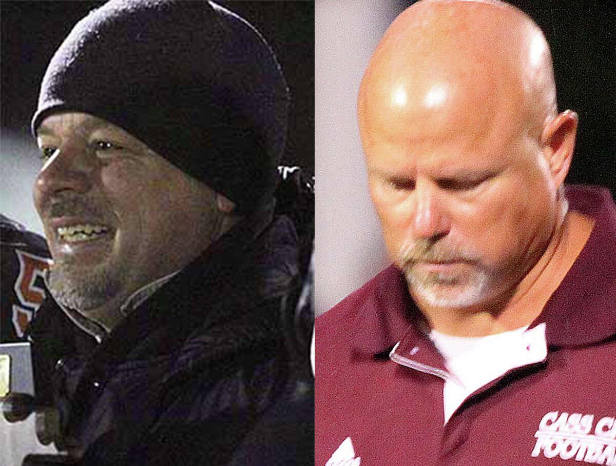 Ubly head coach Bill Sweeney, left, and Cass City head coach Scott Cuthrell