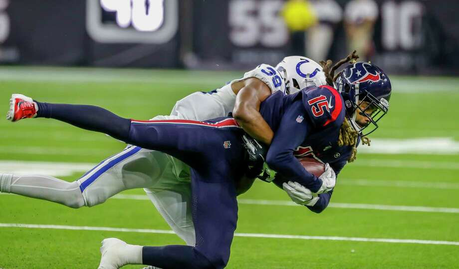 PHOTOS: 2019 Texans' 'My Cause, My Cleats' Houston Texans wide receiver Will Fuller (15) is tackled after a reception by Indianapolis Colts cornerback Marvell Tell (39) during the fourth quarter of an NFL football game at NRG Stadium, Thursday, Nov. 21, 2019, in Houston. >>>See what the Texans will wear during this year's 'My Cause, My Cleats' campaign ... Photo: Karen Warren, Staff Photographer / © 2019 Houston Chronicle