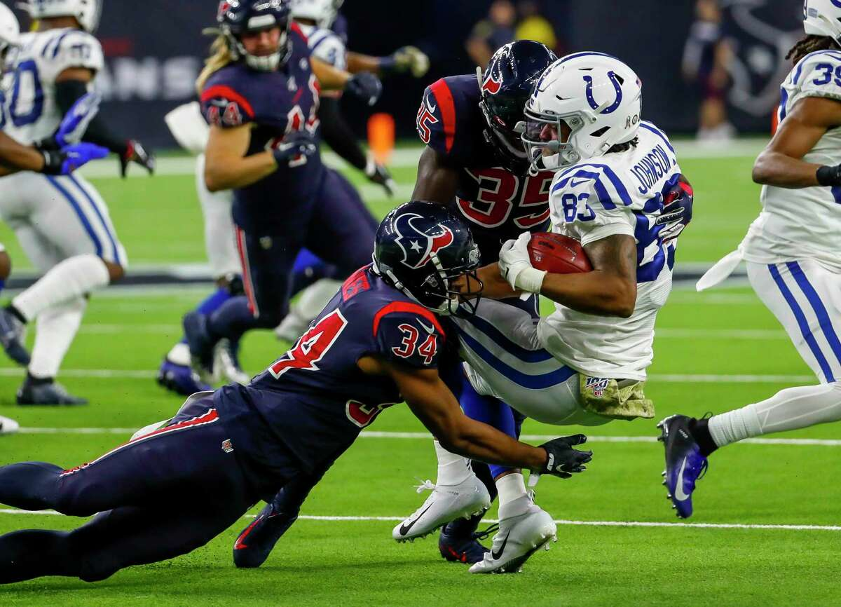 PHOTOS: Texans vs. Colts Indianapolis Colts wide receiver Marcus Johnson (83) is tackled by Houston Texans Taiwan Jones (34) and defensive back Keion Crossen (35) during the third quarter of an NFL football game at NRG Stadium on Thursday, Nov. 21, 2019, in Houston. >>>See more photos from the Texans' win over the Colts ...