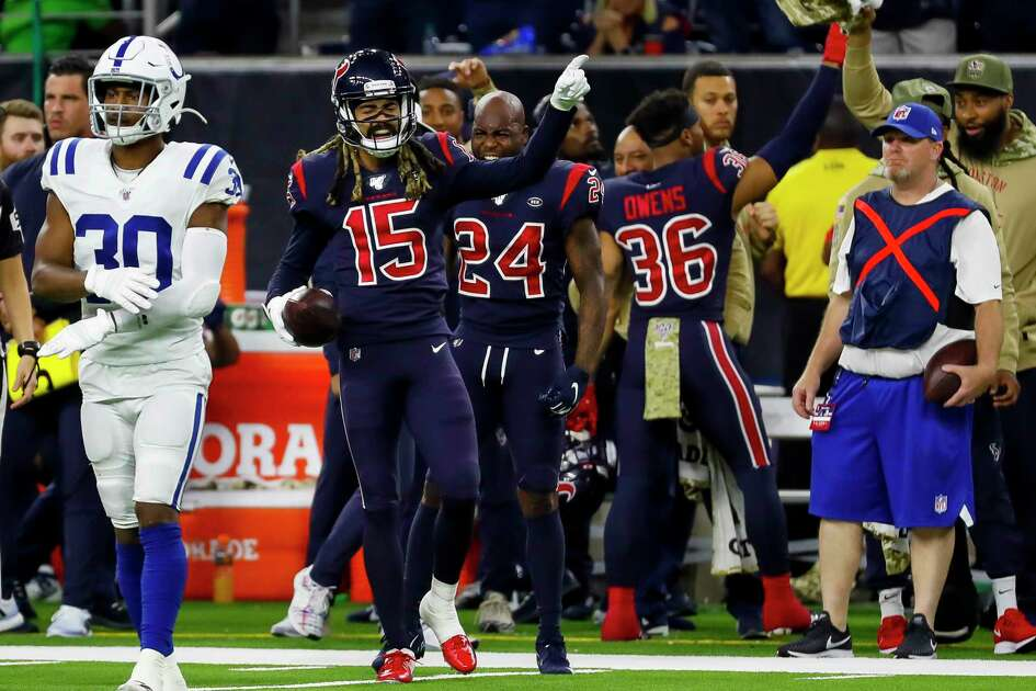 Houston Texans wide receiver Will Fuller (15) celebrates a first down during the fourth quarter of an NFL football game at NRG Stadium on Thursday, Nov. 21, 2019, in Houston.